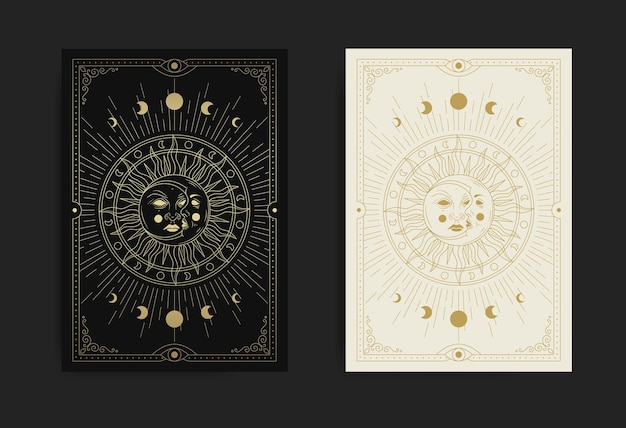 Moon and sun face with luxurious detailed patterns and geometric shapes