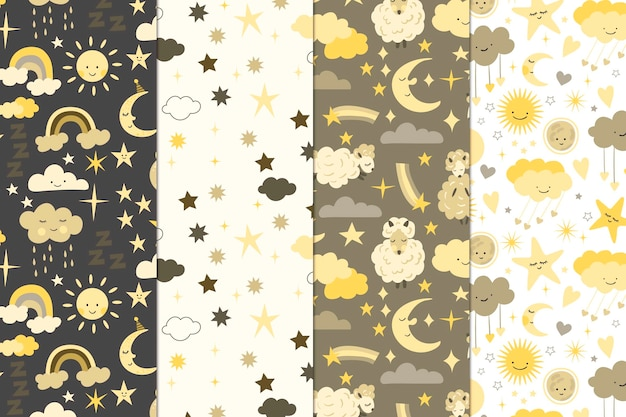 Moon and sun pattern collection