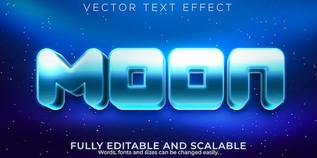 月のテキスト効果、編集可能なメタリックおよびスペーステキストスタイル