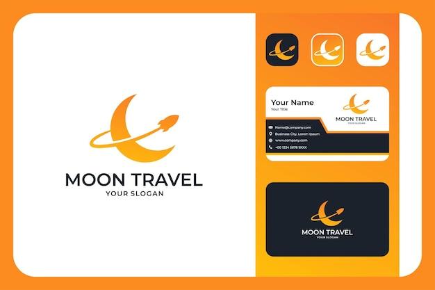 Дизайн логотипа лунного путешествия и визитная карточка
