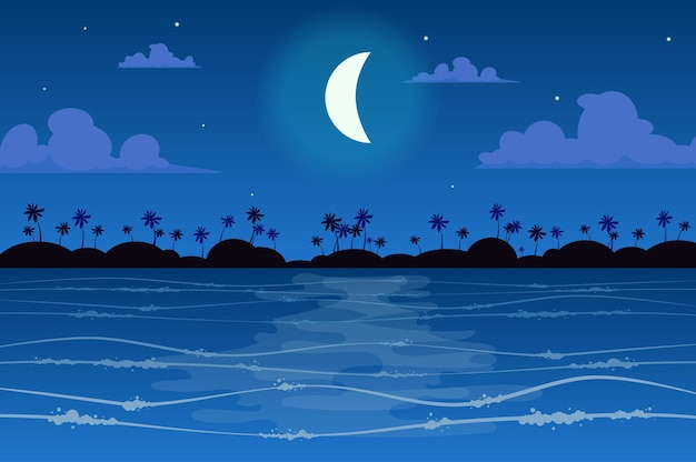 Moon over tropical island landscape in flat style