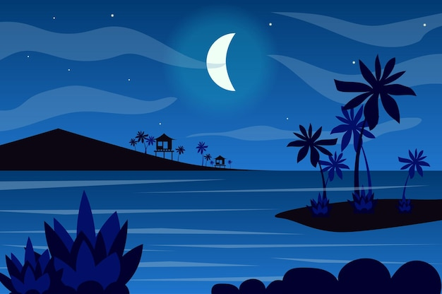 Moon over tropical islands landscape in flat style