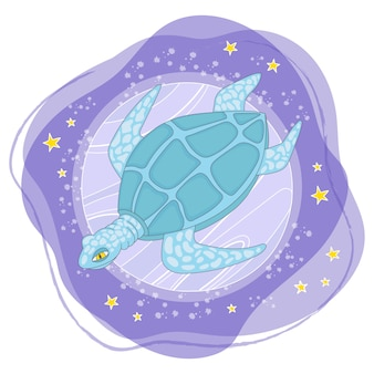 Moon turtle cartoon space animal