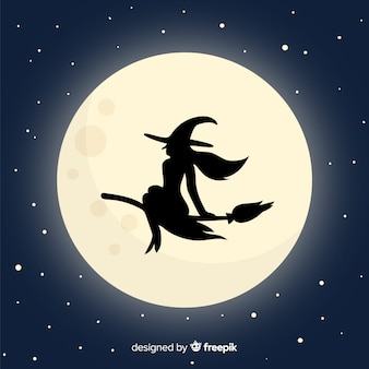 Moon and witch background