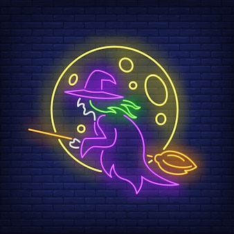 Moon and witch flying on broom neon sign