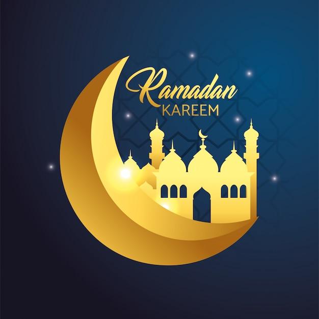 Moon with castle to ramadan kareem celebration