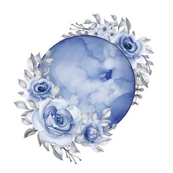 Luna con fiore acquerello blu navy