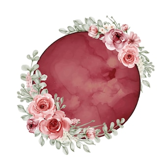 Moon with flower watercolor red burgundy