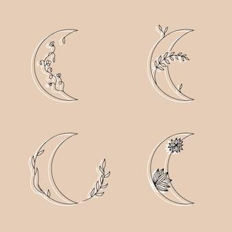 Луна с цветами и листьями в линейном стиле рисованной