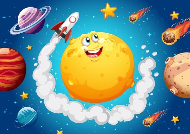 宇宙銀河のテーマの背景に幸せそうな顔の月