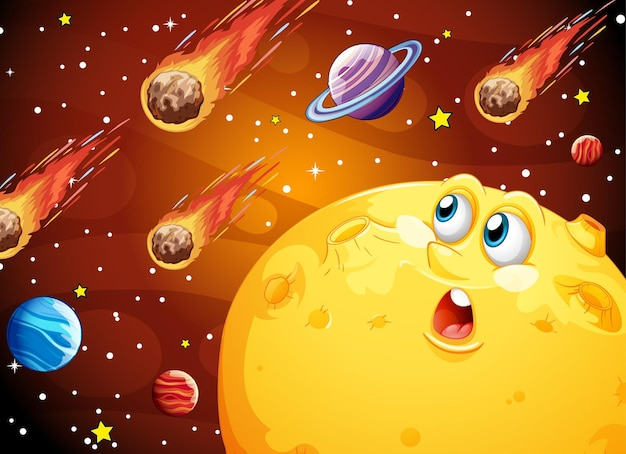 Moon with happy face on space galaxy theme