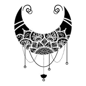 孤立したマンダラ花飾り手描きの月。伝統的なイスラム教、アラビア語、白い背景の上のインドの民族装飾、ベクトル図のモノクロ三日月形オリエンタルパターン