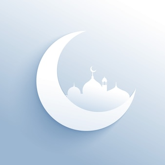 Moon with mosque silhouette for islamic festival