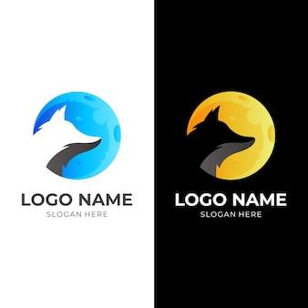 ムーンウルフのロゴ、ムーンとウルフ、コンビネーションロゴ Premiumベクター