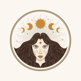 Moon woman, illustration with esoteric, boho, spiritual, geometric, astrology, magic themes, for tarot reader card