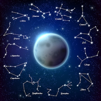 Moon and zodiac constellations realistic illustration