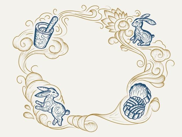 中秋節または収穫月祭りのお祝いのためのmooncackeスケッチと手描きのウサギまたはバニー