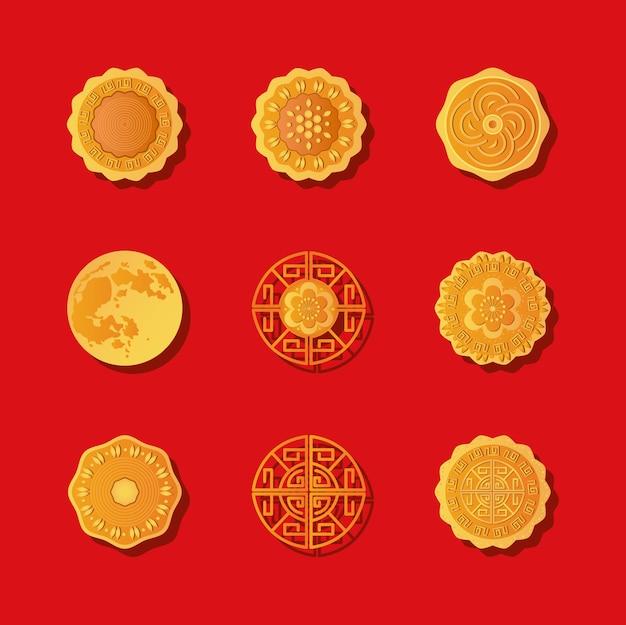 赤い背景、詳細なスタイルの上に設定された月餅アイコン