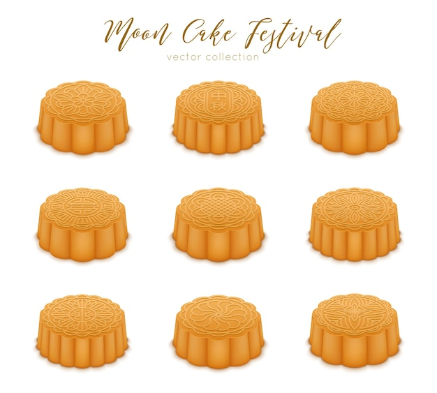 Mooncakes set for the mid-autumn festival. traditional chinese desert for celebration happy mid autumn.