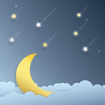 月光と流れ星の紙アート