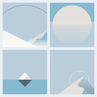 Moonlight during winter background geometric style set