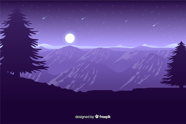 Moonlight on mountains with falling stars