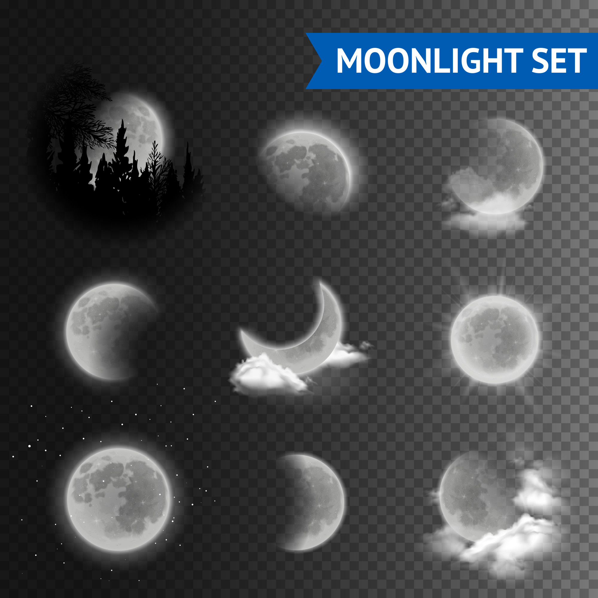 Moonlight transparent set