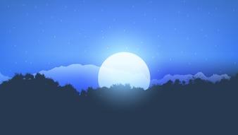 Moonlight tree landscape