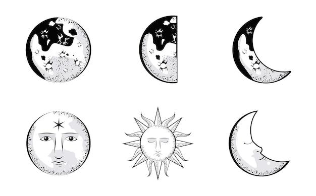 Набор лун и солнц