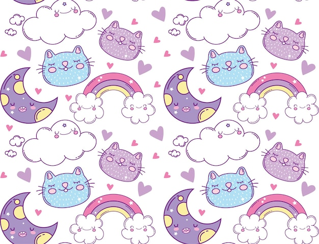 Moons rainbows clouds and cats cartoons, kawaii expression cute character funny and emoticon
