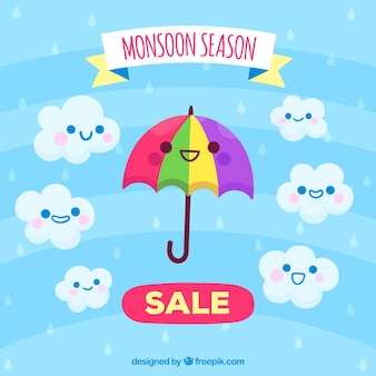 Moonson season sale background with cartoons