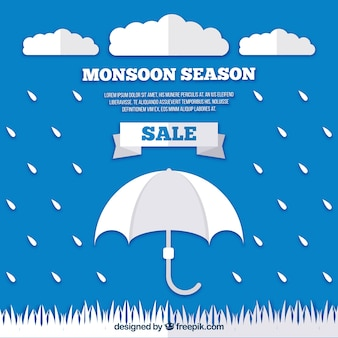 Moonson season sale background with rain