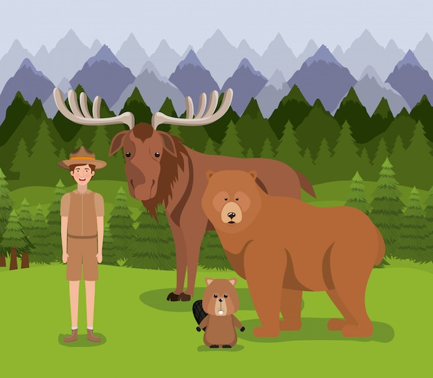 Moose bear beaver and ranger