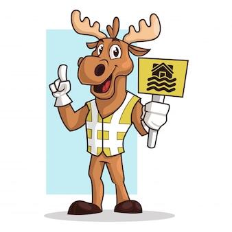 Moose cartoon, mascot holding a sign board