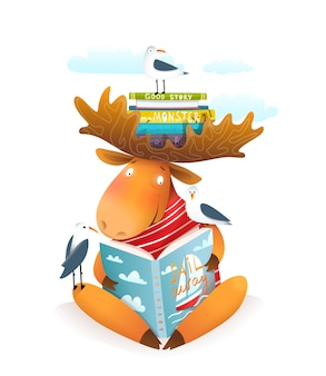 Moose or elk character reading book about sailing