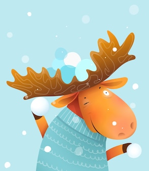 Moose or elk playing snowballs game in winter wearing sweater, invitation or greeting card for christmas. kids and nursery animal illustration, cartoon in watercolor style.