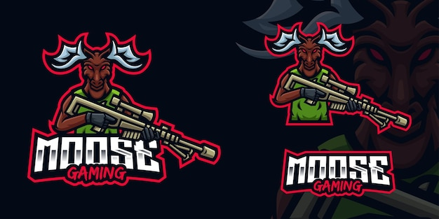 Moose holding sniper gaming mascot logo for esports streamer and community