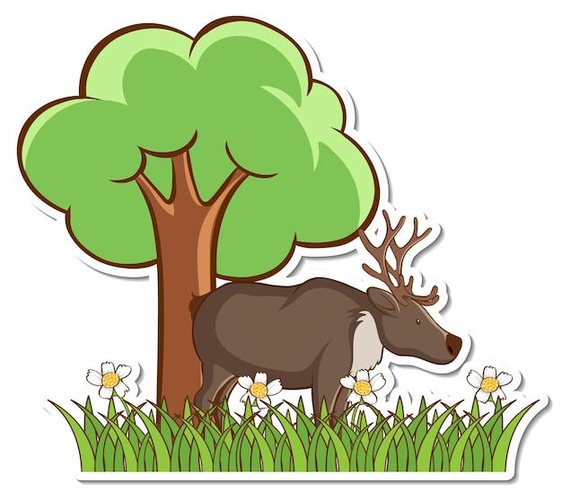 Moose standing in grass field sticker
