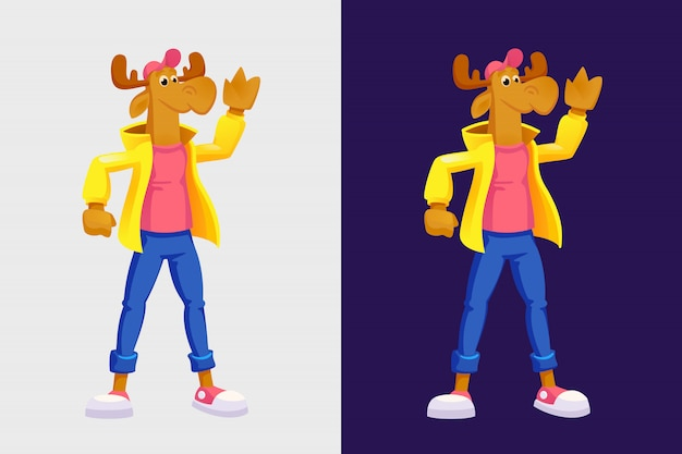 Moose vector illustration in cartoon style