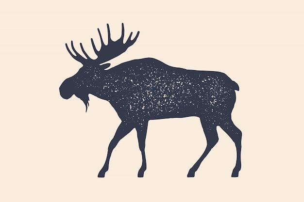ムース、野生の鹿。農場の動物-ムース側ビュープロファイルの概念。黒いシルエットのムースや白い背景の野生の鹿。ヴィンテージレトロなプリント、ポスター、アイコン。図