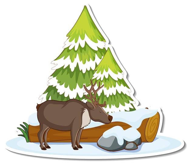 눈으로 덮인 소나무와 무스 스티커