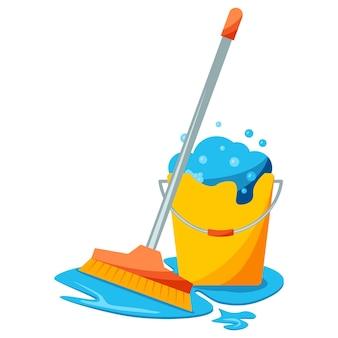 Концепция уборки швабры и ведра концепция уборки пола для дизайна работы по дому