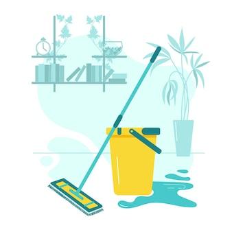 Швабра и ведро для влажной уборки дома.