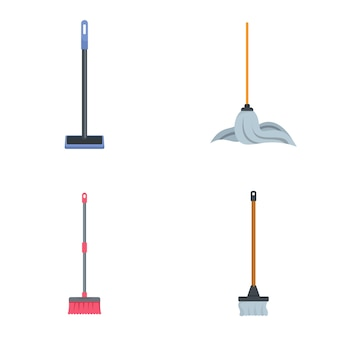 Mop cleaning swab icons set
