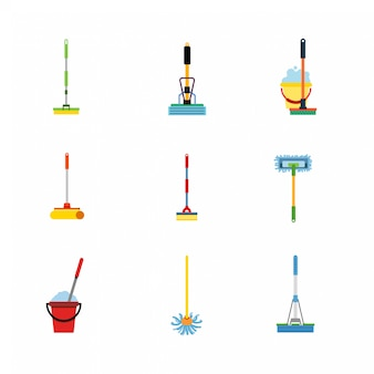 Mop flat icons.