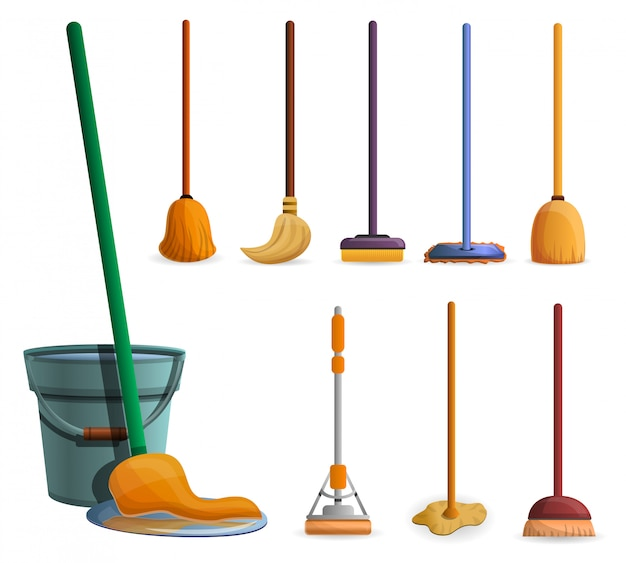 Mop icon set. cartoon set of mop vector icons for web design