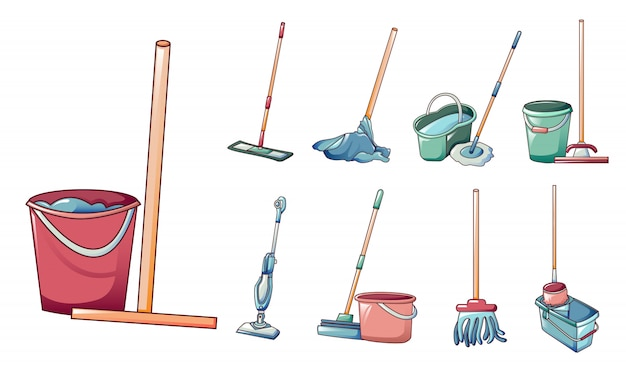 Mop icons set, cartoon style