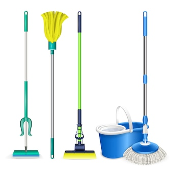 Mop icons set. realistic set of mop vector icons isolated