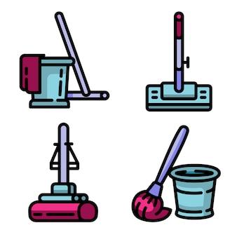 Mop icons set