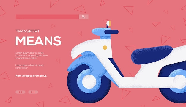Moped concept flyer, web banner, ui header, enter site. .
